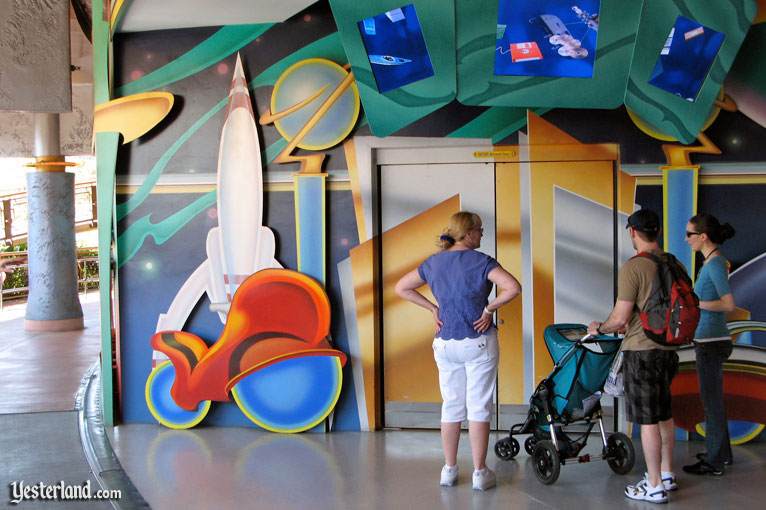 Rocket to the Moon homage at an entrance to the Innoventions at Disneyland