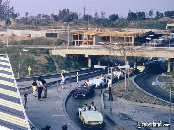 Photograph of the Submarine Voyage construction behind the Tomorrowland Autopia