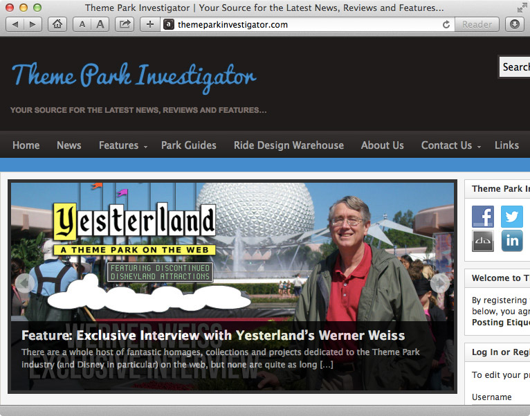 Screen capture from Theme Park Investigator