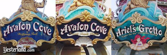 Montage of three Avalon Cove (Ariel's Grotto) signs
