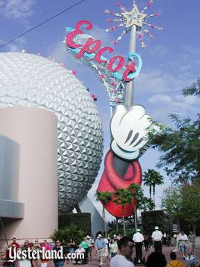 Photo of Epcot Icon Tower with Epcot sign