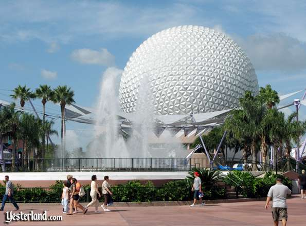 Photo of Spaceship Earth fully restored, October 1, 2007