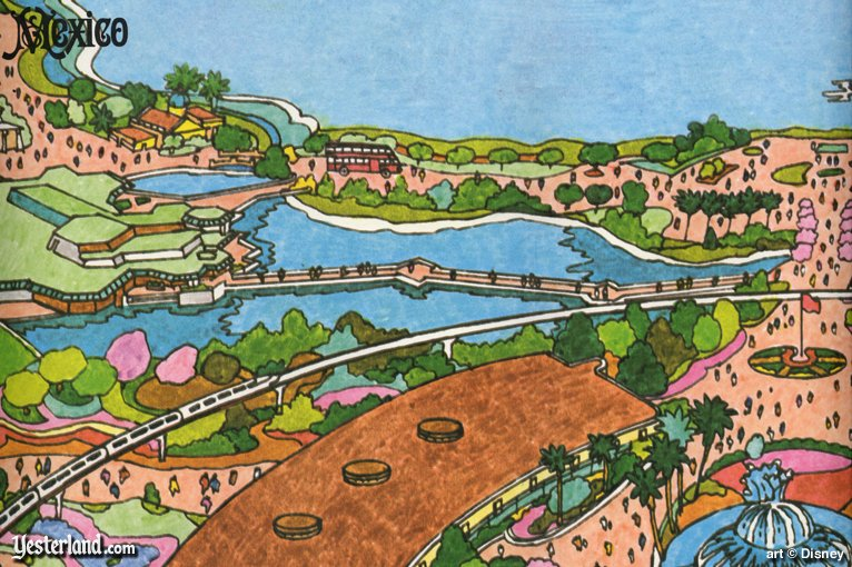 Double-Decker Bus on excerpt from 1982 souvenir map of Epcot Center