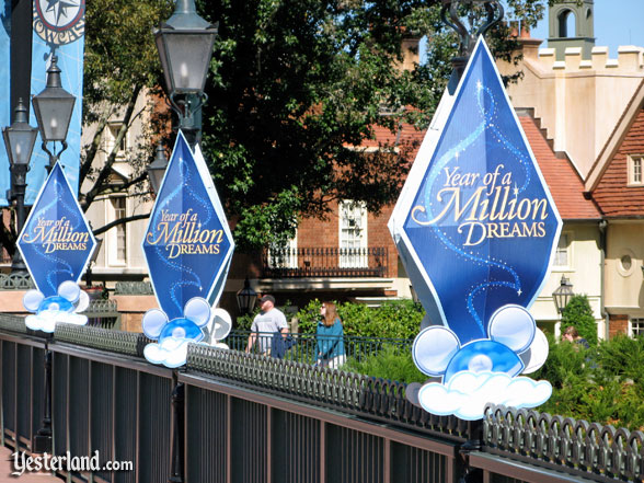 Banners for The Year of a Million Dreams at Epcot's World Showcase