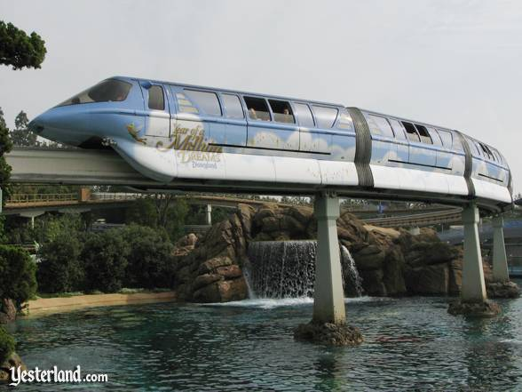 Disneyland Monorail deceorated for The Year of a Million Dreams