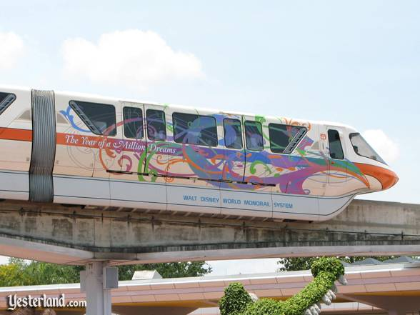 Walt Disney World Monorail decorated for The Year of a Million Dreams