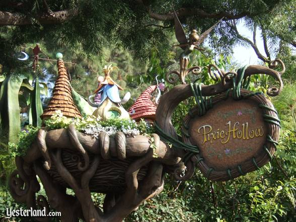 Pixie Hollow sign at former Triton's Garden, Disneyland: 2008, by Allen Huffman