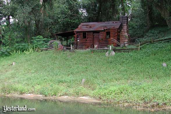 Photo of No-Longer-Burning Settler's Cabin at Walt Disney World