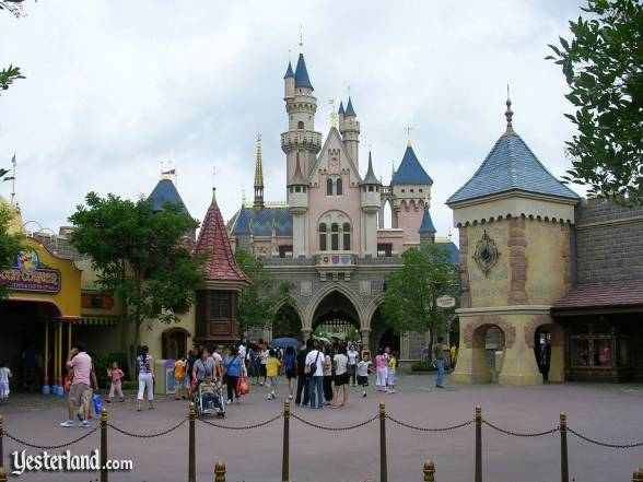 Sleeping Beauty Castle from inside Fantasyland at Hong Kong Disneyland