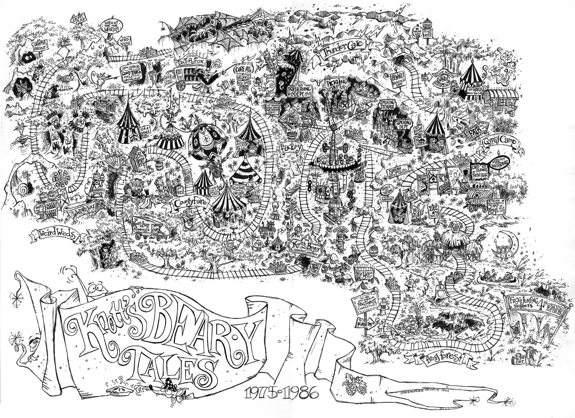 Fun Map of Knott's Bear-y Tales by Chris Merritt