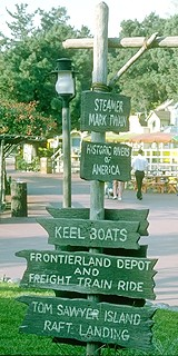 Photo of Frontierland Direction Sign, 1974