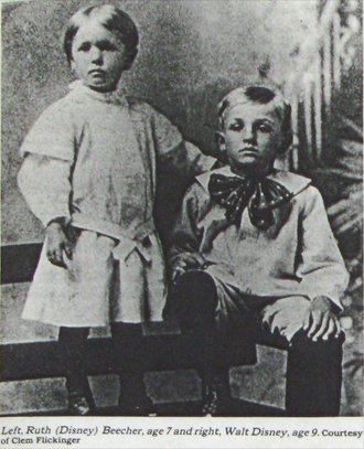 Ruth (Disney) Beecher, age 7, and Walt Disney, age 9