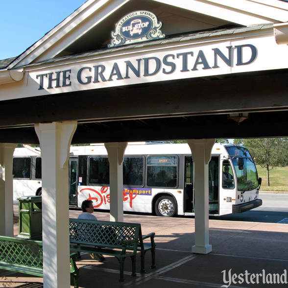 A bus stop at Disney's Saratoga Springs Resort