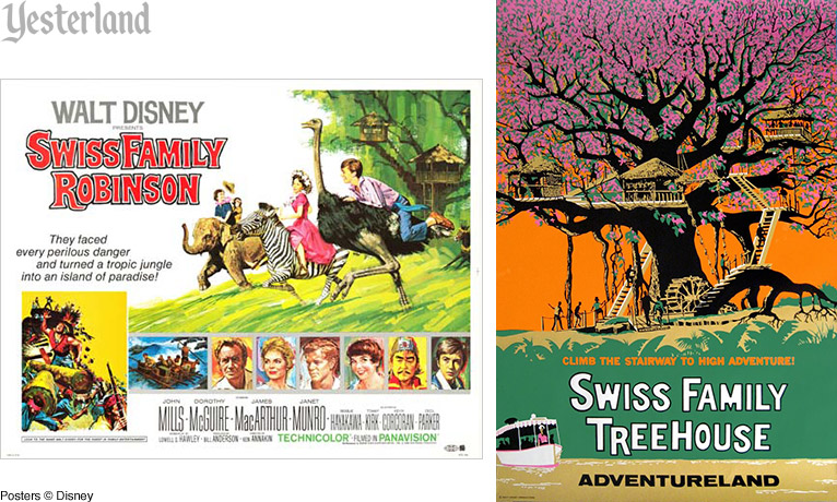 Swiss Family Robinson movie posters and Swiss Family Treehouse attraction poster