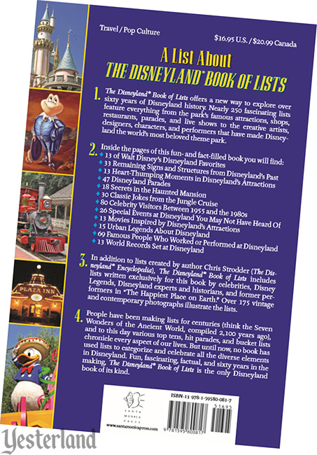 back cover: The Disneyland Book of Lists