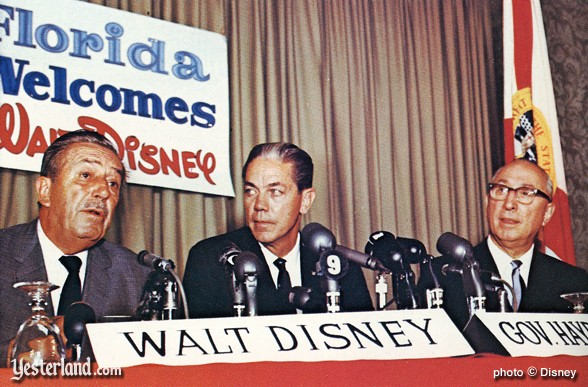 Walt Disney, Florida Governor Hayden Burns, and Roy DIsney on November 15, 1965