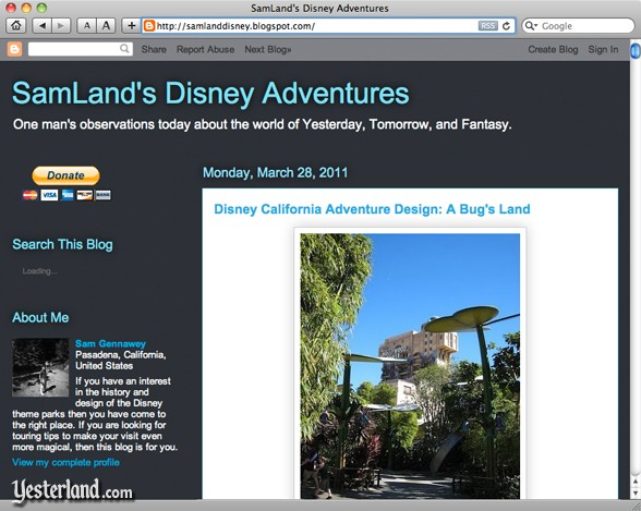 SamLand's Disney Adventures Blog by Sam Gennawey
