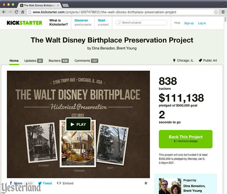 Kickstarter for Walt Disney Birthplace in Chicago