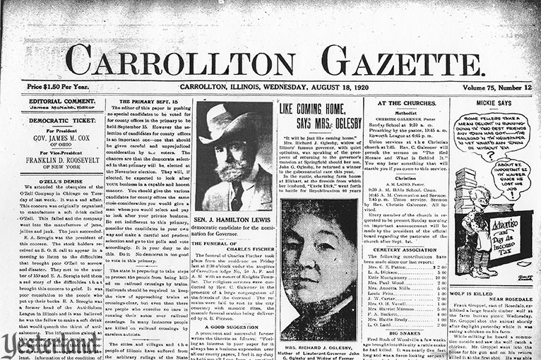 Carrollton Gazette (Carrolton, Illinois) front page, August 18, 1920