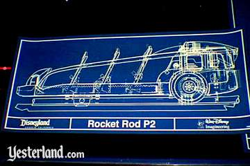 Photo of blueprint for a new Yesterland vehicle