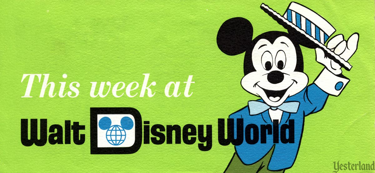 This Week at Walt Disney World, green cover with Mickey Mouse