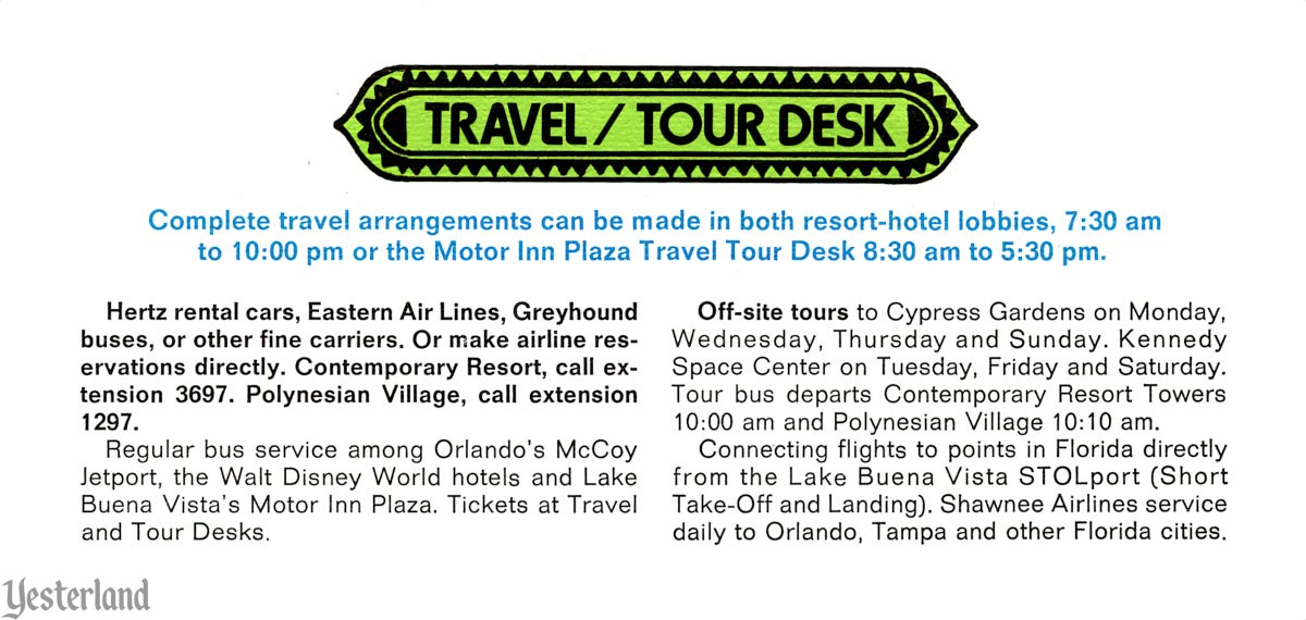 This Week at Walt Disney World, Travel / Tour Desk, 1972