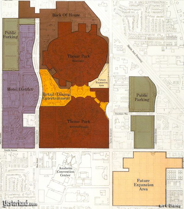 Distinct zones of the Disneyland Resort plan of 1991
